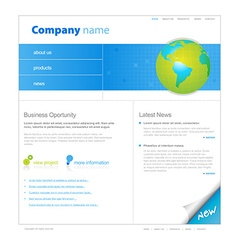 Website template with globe vector