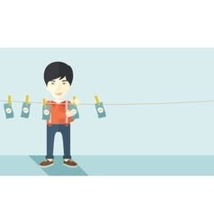 Chinese buisnessman hang his money vector