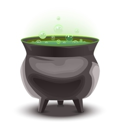 Green magic potion in cauldron boiling pot vector