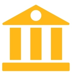Bank flat yellow color icon vector