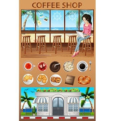 Woman hanging out in the coffee shop vector image