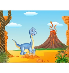 Cartoon mom and baby dinosaur hatching vector