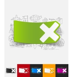 Cross paper sticker with hand drawn elements vector