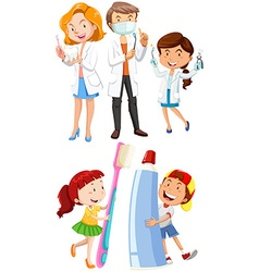 Dentists and children with toothbrush vector