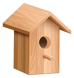 Wooden house for bird nesting box vector