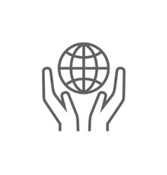 Two hands holding globe line icon vector