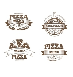 Pizza menu restaurant labels logos badges vector