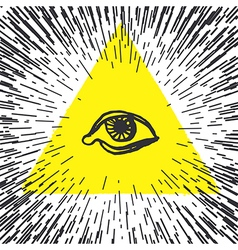 All seeing eye pyramid freemason and spiritual vector
