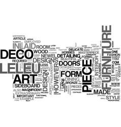 Art deco furniture a leleu masterpiece text word vector