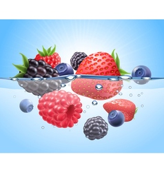 Berries in water realistic composition vector
