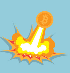 Bitcoin flying cryptocurrency concept vector