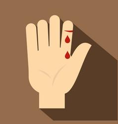 Bleeding human thumb icon flat style vector