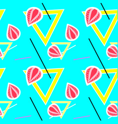blue seamless pattern with strawberries and geomet vector image vector image
