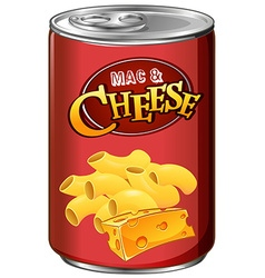 Canned mac and cheese on white vector image