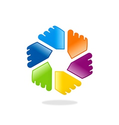Circle hands color diversity logo vector