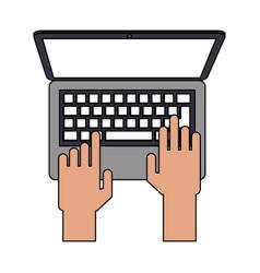 Color image cartoon top view hands typing in vector