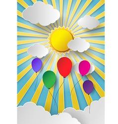 Colorful balloon on sky vector