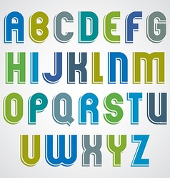 Colorful cartoon font rounded upper case letters vector