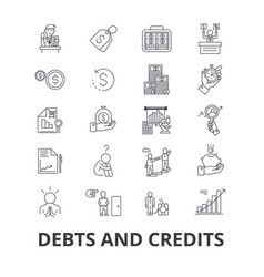 debts and credits money bankruptcy bill wealth vector image