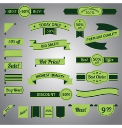 Discount retro ribbon green set vector image
