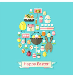Easter greeting card with flat icons egg shaped vector