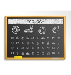 Ecology hand drawing line icons chalk sketch sign vector
