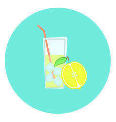 glass of fresh yellow lemon lemonade with ice icon vector image
