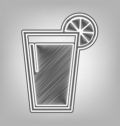 Glass of juice icons pencil sketch vector