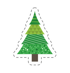 Green tree pine christmas line vector