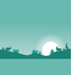happy easter egg and bunny landscape vector image vector image