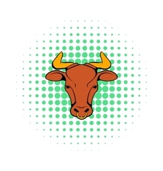 Head of indian cow icon comics style vector