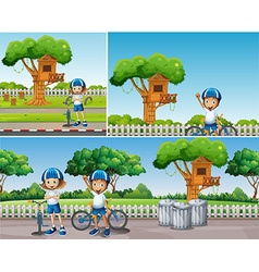 Kids riding bike in the park vector image vector image
