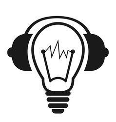Lightbulb With Headphones vector image vector image