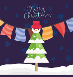 merry christmas party tree with snowman graphic vector image