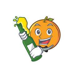 Orange fruit cartoon character with beer vector