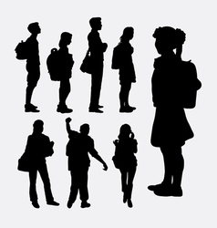 People going to school silhouettes vector