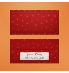Realistic red Christmas Envelope to Santa Claus vector image