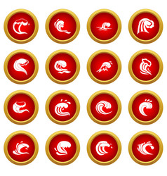 Sea waves icon red circle set vector