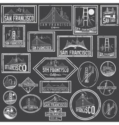 Set grunge badges with san francisco skyline vector