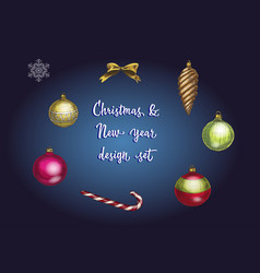 set of christmas and new year decoration and vector image vector image