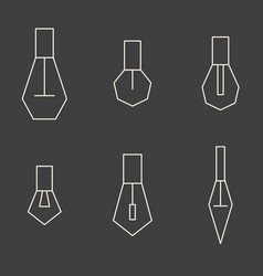 set of minimalistic polygn light bulbs on grey vector image vector image