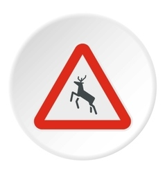 Sign caution deer icon flat style vector