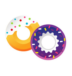 Sweet colorful tasty donut isolated vector