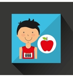 Cartoon boy athlete with flat apple vector