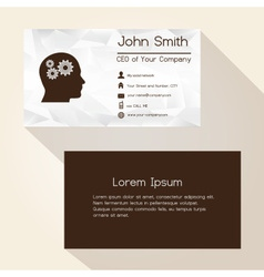 Wrinkled white paper brown business card design vector