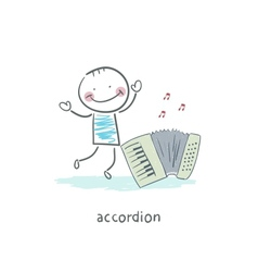 Man and accordion vector
