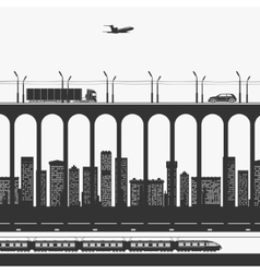 Transport and trucking in the city vector image