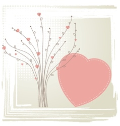 Cute background with vintage hearts vector