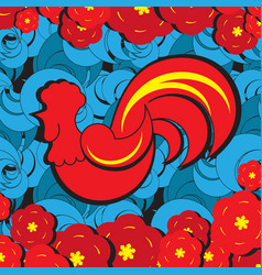 Red rooster new yer zodiac symbol on blue vector