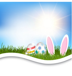 easter background with eggs and bunny ears in vector image